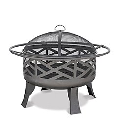 UniFlame® Black Wood Outdoor Firebowl with Geometric Design
