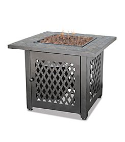 UniFlame® LP Gas Outdoor Firebowl with Slate Tile Mantel