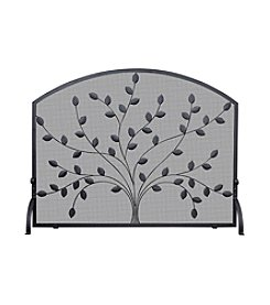 UniFlame® Single Panel Black Wrought Iron Screen with Leaves