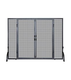 UniFlame® Single Panel Black Wrought Iron Screen with Doors