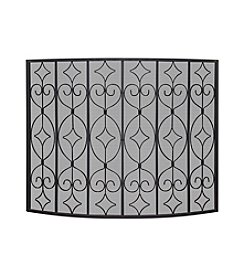 UniFlame® Single Panel Black Wrought Curved Ornate Screen