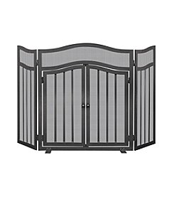 UniFlame® Three Panel Black Wrought Iron Screen with Doors