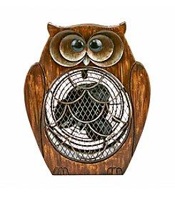 Deco Breeze Wood Owl Figurine Fan