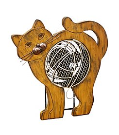 Deco Breeze Wood Cat Figurine Fan