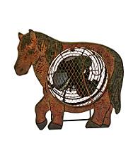 Deco Breeze Wood Horse Figurine Fan