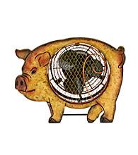 Deco Breeze Wood Pig Figurine Fan