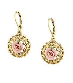 1928® Jewelry Pink Porcelain Rose Drop Earrings