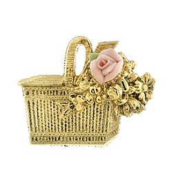 1928 Signature Pink Porcelain Rose Basket Pin