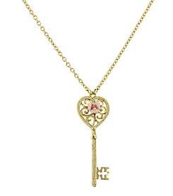 1928® Jewelry Pink Porcelain Rose Key Pendant 16