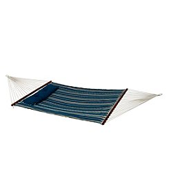 Bliss™ Hammocks 2 Person Blue Stripe Quilted Hammock with Pillow