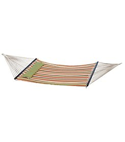 Bliss™ Hammocks 2 Person Green Stripe Quilted Hammock with Pillow