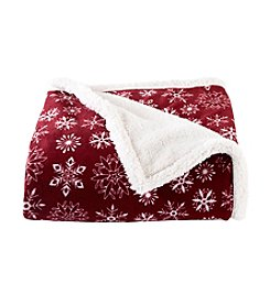 LivingQuarters Burgundy Snowflake Sherpa Throw