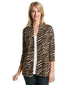 Laura Ashley® Sweater Knit Zebra Open Cardigan