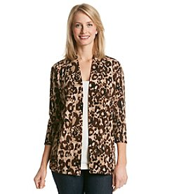 Laura Ashley® Sweater Knit Cheetah Open Cardigan