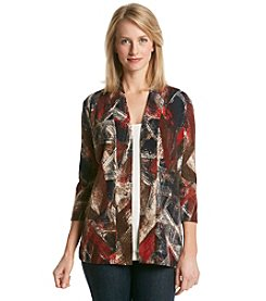 Laura Ashley® Sweater Knit Brushstroke Open Cardigan
