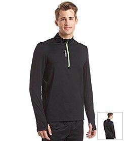 Reebok® Men's Black/Solar Green Essential Quarter-Zip Fleece