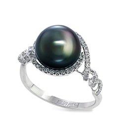 Effy® Tahitian Pearl 0.27 ct. t.w. Diamond Ring in 14K White Gold