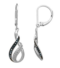 0.20 ct. t.w. Green and White Diamond Earrings in Sterling Silver