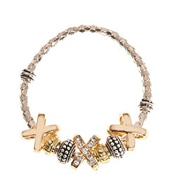 L&J Accessories Two Tone XO Charm Bracelet