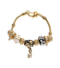 L&J Accessories Jet and Goldtone with Pearl Charm Bracelet
