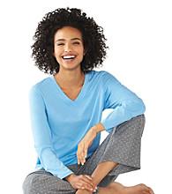 HUE® Knit Classic V-Neck Top - Light Blue