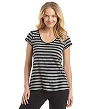 HUE® Knit Top - Lola Black/Grey Stripe