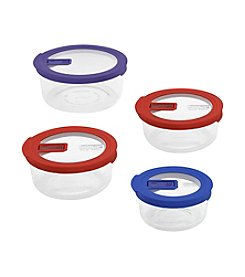 Pyrex® 8-pc. No Leak Clear Storage Set with Colored Lids