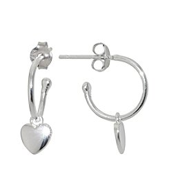 Athra Silver Plated Heart Charm Hoop Earrings
