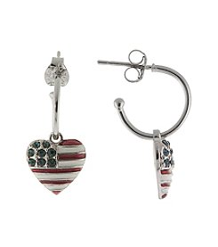 Athra Silver Plated American Flag Heart with Enamel & Crystals Charm Hoop Earrings