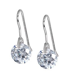 Athra Silver Cubic Zirconia Drop Earrings