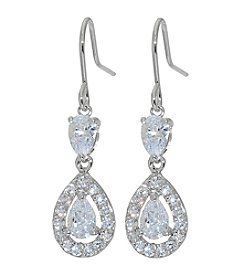 Athra Silver Cubic Zirconia Double Drop Earrings