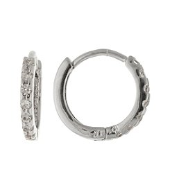 Athra Fine Silver Cubic Zirconia Huggie Earrings