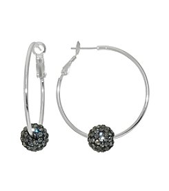 Athra Fine Silver Plated Hoops with Smoky Crystal Beads