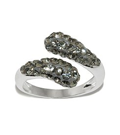 Fine Silver Plated Bypass Smoky Crystal Ring