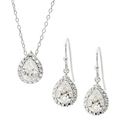 Boxed Fine Silver Plated Cubic Zirconia Earrings and Pendant Necklace Set