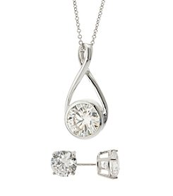 Athra Boxed Fine Silver Plated Cubic Zirconia Earrings and Pendant Necklace Set