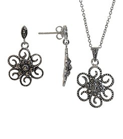 Boxed Fine Silver Plated Cubic Zirconia & Marcasite Earrings and Pendant Necklace Set
