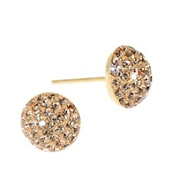 Athra Gold Over Sterling Silver Champagne Crystal Stud Earrings