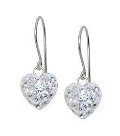 Sterling Silver Clear Crystal Drop Heart Earrings