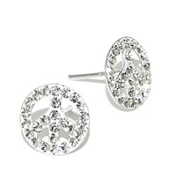 Athra Sterling Silver Clear Crystal Peace Sign Stud Earrings