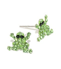 Athra Sterling Silver Green Crystal Frog Stud Earrings