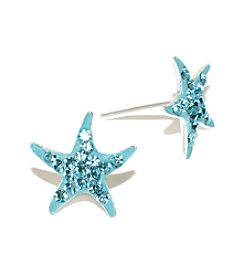 Athra Sterling Silver Aqua Crystal Starfish Stud Earrings