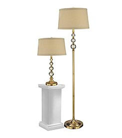 Dale Tiffany Antique Brass Optic Orb Table and Floor Lamp Set