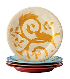 Rachael Ray® Gold Scroll Set of Four Assorted Salad Plates