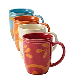 Rachael Ray® Gold Scroll Set of Four Assorted Mugs