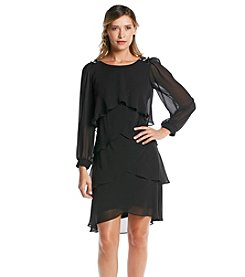 S.L. Fashions Long Sheer Sleeve Shutter Dress