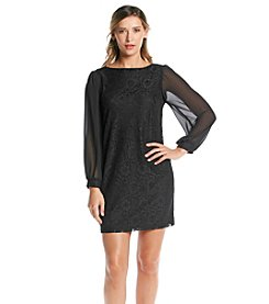 S.L Fashions Long Sheer Sleeve Lace Dress