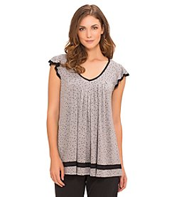 Ellen Tracy® Flutter Sleeve Knit Top - Grey Dot