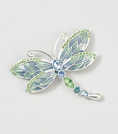 Napier® Boxed Dragonfly Pin in Silvertone Metal with Blue Crystal Accents