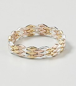 Napier® Goldtone/Silvertone Metal Geometric Stretch Bracelet